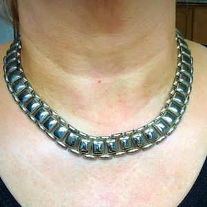 Ornate Silver Choker Collar Necklace